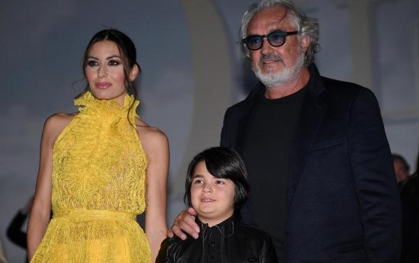 Elisabetta Gregoraci con Flavio Briatore e il loro figlio Nathan Falco