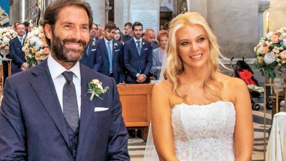 Eleonora Daniele e suo marito Giulio Tassoni nel giorno del loro matrimonio