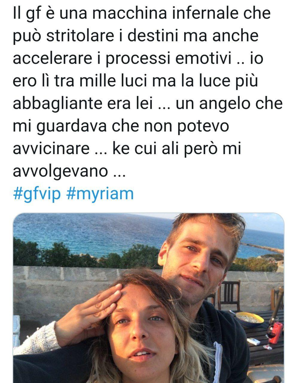 Gf VIP myriam catania dedica Quentin