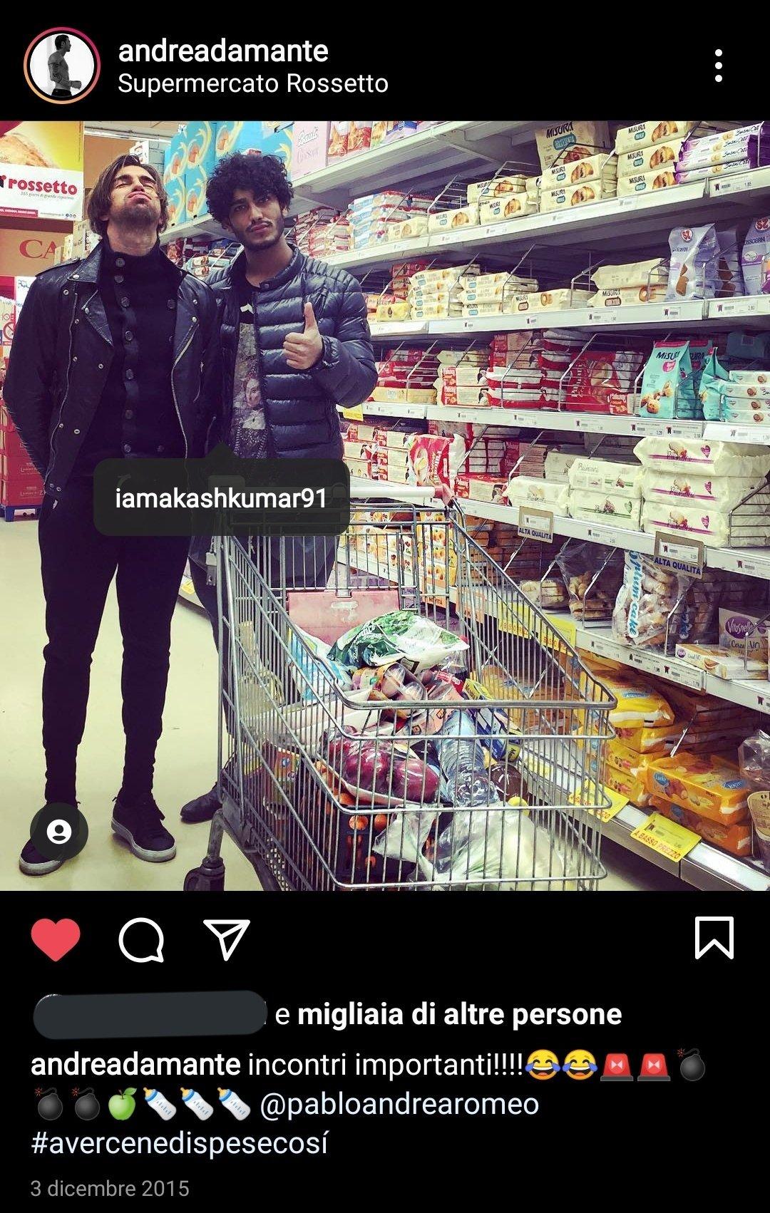 Akash Kumar nome falso Andrea Damante
